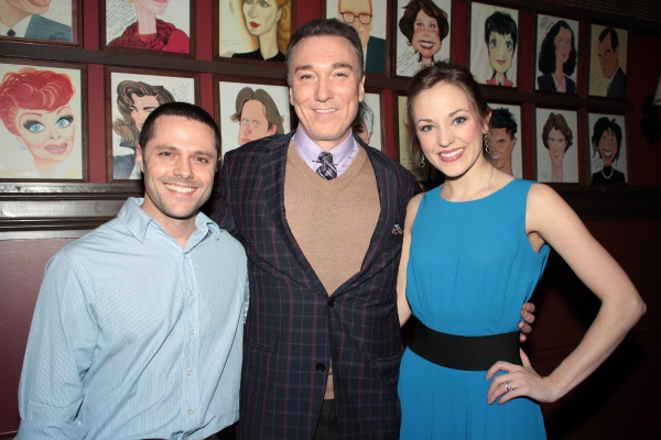 Joshua Bergasse, Patrick Page, Laura Osnes at Patrick Page Gets a Birthday Caricature at Sardi's