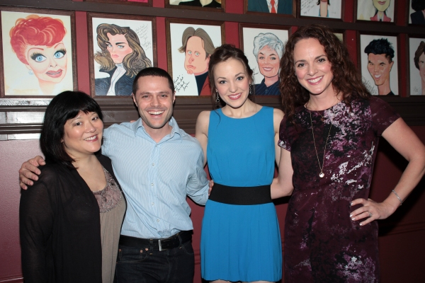 Ann Harada, Joshua Bergasse, Laura Osnes, Melissa Errico at Patrick Page Gets a Birthday Caricature at Sardi's