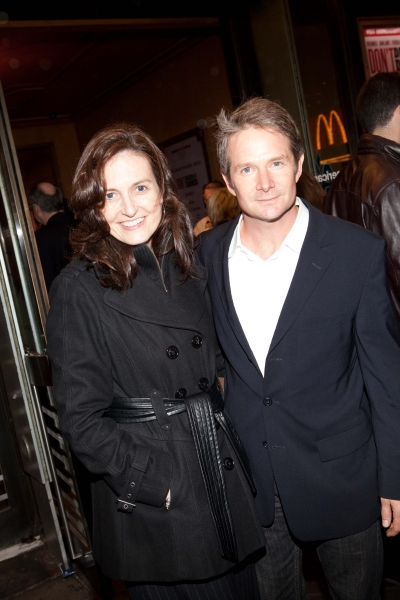 Peter Benson and Guest at DON'T DRESS FOR DINNER Arrivals - Laura Osnes, Jim Parsons & More!