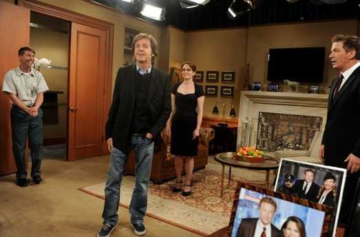 Jack McBrayer, Paul McCartney, Tina Fey and Alec Baldwin at Cheyenne Jackson, Paul McCartney Among Guest Stars on 30 ROCK's Live Episode