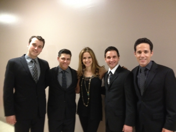 Rob Marnell, Deven May, Kelly Preston, Travis Cloer, Jeff Leibow at Kelly Preston Visits JERSEY BOYS Vegas