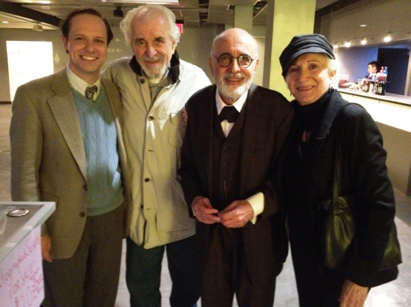 Jim Stanek, Louis Zorich, George Morfogen and Olympia Dukakis at Olympia Dukakis and Louis Zorich Visit New World Stages' FREUD'S LAST SESSION