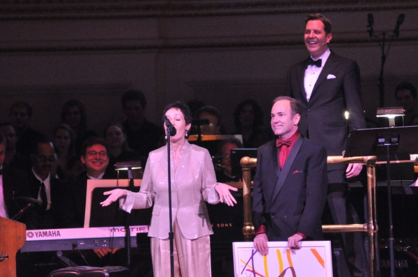 Lynn Ahrens, Stephen Flaherty and Steven Reineke at Andrew Rannells, Marin Mazzie, et al. at New York Pops 29th Birthday Gala