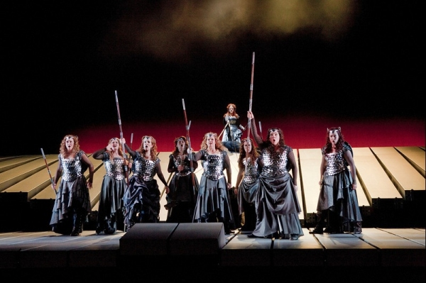 "A scene from Act 3 of Wagner's ""Die Walkure"" with the Valkuries, Marjorie Elinor Dix as Waltraute, Wendy Bryn Harmer as Ortlinde, Molly Fillmore as Helmwige, Kelly Cae Hogan as Gerhilde, Mary Ann McCormick as Grimgerde, Lindsay Ammann as Rossweisse, Eve G"