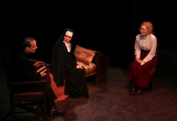 Christopher Patrick Mullen (Father Rivard), Casandera MJ Lollar (Sister Rita) and Alisha Spielmann