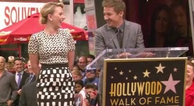 Scarlett Johansson & Jeremy Renner at Scarlett Johansson Receives Star on Hollywood Walk of Fame