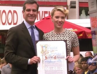 Eric Garcetti & Scarlett Johansson at Scarlett Johansson Receives Star on Hollywood Walk of Fame