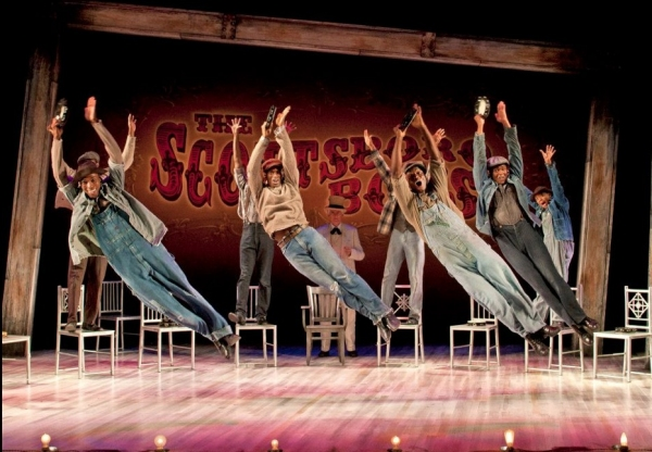 David Bazemore as Olen Montgomery, Eric Jackson as Clarence Norris, James T. Lane as Ozie Powell and Shavey Brown as Willie Roberson and the Cast of The Scottsboro Boys