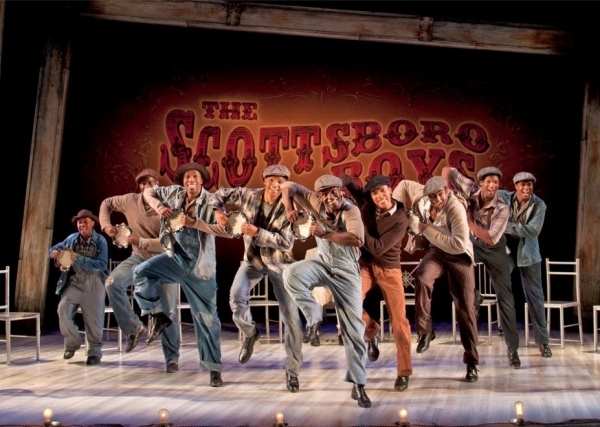 The cast of the West Coast Premiere of The Scottsboro Boys: (from left) Nile Bullock, Eric Jackson, David Bazemore, Christopher James Culberson, James T. Lane, Clinton Roane, Clifton Duncan, Clifton Oliver and Shavey Brown