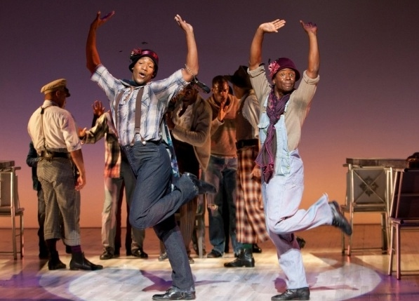Clifton Oliver as Victoria Price and James T. Lane as Ruby Bates and the Cast of The Scottsboro Boys