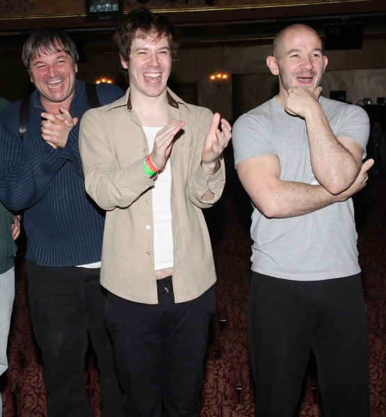 Jim Boretselmann , John Gallagher Jr. & Steven Hoggett attending the Opening Night Broadway performance Gypsy Robe Ceremony for Green Day's AMERICAN IDIOT at the St. James Theatre, New York City. April 20, 2010  at Photo Blast From The Past: The 2012 Tony Nominees - The Men