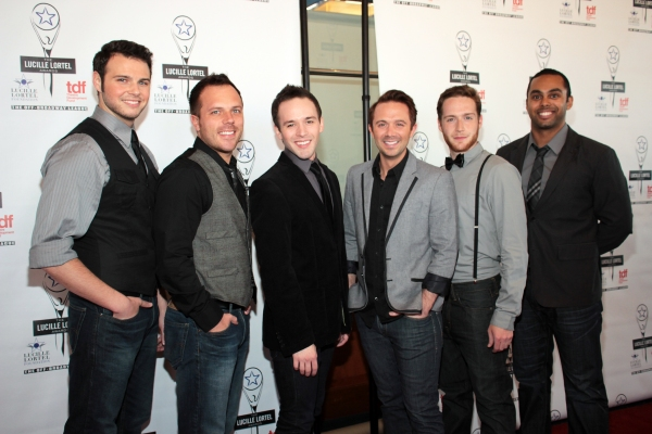 Brad Greer, Travis Morin, Gabe Violett, Danny Calvert, Tim Young, Jesse Nager at 2012 Lucille Lortel Awards- the Starry Arrivals!