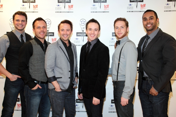 Brad Greer, Travis Morin, Gabe Violett, Danny Calvert, Tim Young, Jesse Nager at Inside the Lucille Lortel Awards with the 2012 Winners!