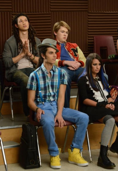 Harry Shum Jr., Damian McGinty, Samuel Larsen, Lea Michele  Photo