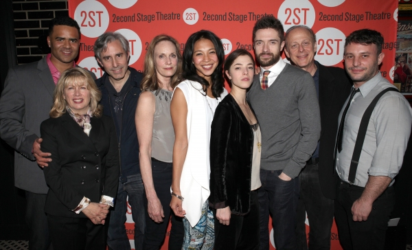 Christopher Jackson, Artistic Director Carole Rothman, Playwright Paul Weitz, Lisa Emery, Maureen Sebastian, Olivia Thirlby, Topher Grace, Mark Blum & Director Trip Cullman at Opening Night of LONELY, I'M NOT Starring Topher Grace & Olivia Thirlby at Second Stage