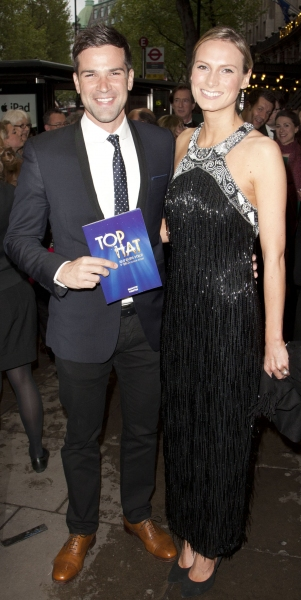 Gethin Jones and Clare Chambers arrive on Press Night for Top Hat at the Aldwych Theatre, London, England on 9th May 2012. (Credit should read: Dan Wooller/wooller.com). Paid use only. No Syndication