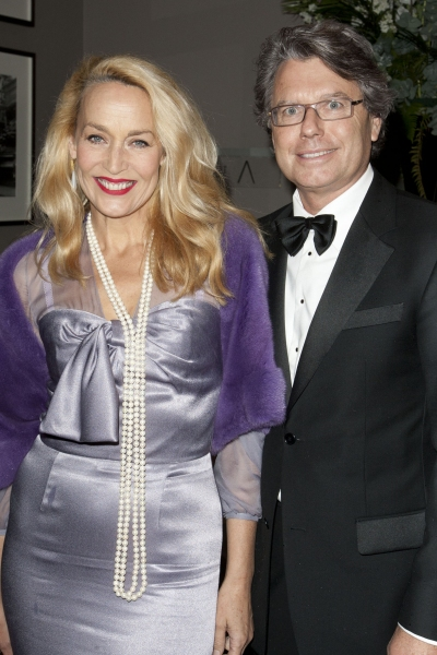 Jerry Hall and Warwick Hemsley attend the after party on Press Night for Top Hat at The Waldorf Hilton, London, England on 9th May 2012. (Credit should read: Dan Wooller/wooller.com). Paid use only. No Syndication