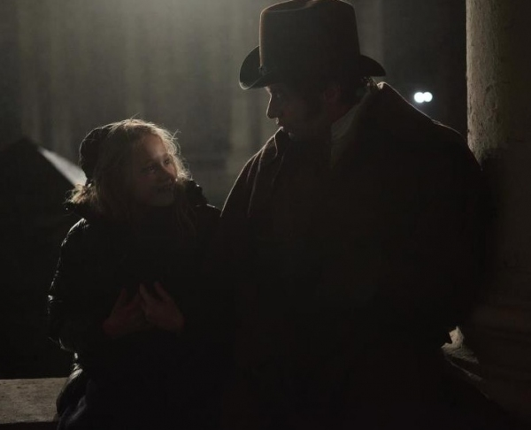 Isabelle Allen (Young Cosette) and Hugh Jackman at Hugh Jackman and Isabelle Allen on LES MIS Film Set!