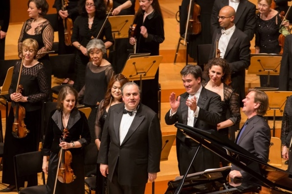 Yefim Bronfman, Alan Gilbert and Magnus Lindberg at Alan Gilbert Conducts NY Phil in Walt Disney Concert Hall Debut