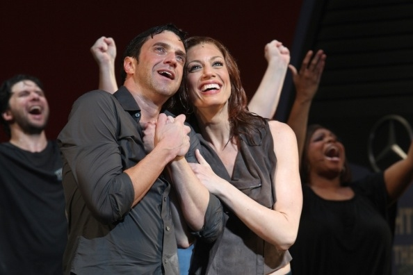 Raul Esparza and Jessica Phillips at Photo Flashback: LEAP OF FAITH Takes Final Broadway Bows Today