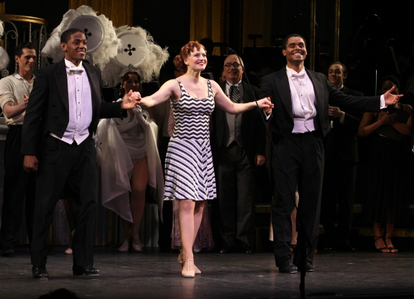 Jared Grimes, Megan Sikora & Phillip Attmore at Megan Hilty & Rachel York in The GENTLEMEN PREFER BLONDES Curtain Call