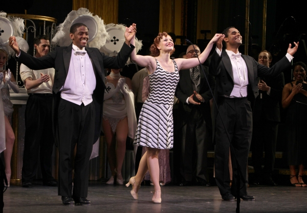 Jared Grimes, Megan Sikora & Phillip Attmore at Megan Hilty & Rachel York in The GENTLEMEN PREFER BLONDES Curtain Call