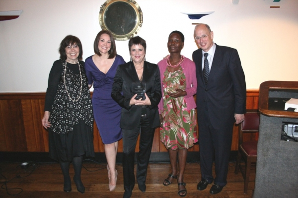 Elizabeth Alderman, Erica Hill, Eve Ensler, Susan Ayot, and Dr. Stephen Alderman at Peter C. Alderman Foundation Honors Playwright Eve Ensler