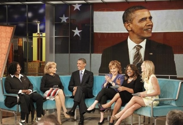 Whoopi Goldberg, Barbara Walters, President Obama, Joy Behar, Sherri Shepherd and Elisabeth Hasselbeck