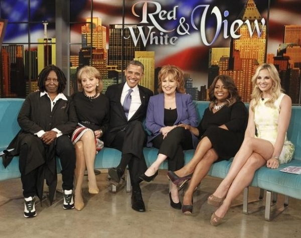 Whoopi Goldberg, Barbara Walters, President Obama, Joy Behar, Sherri Shepherd & Elisabeth Hasselbeck