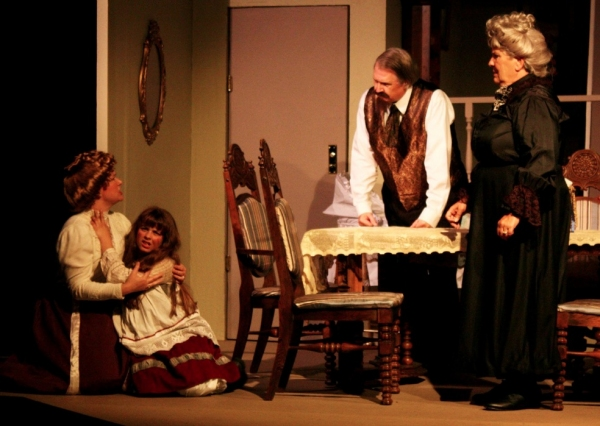 Kate (Elizabeth Bouton), Captain Keller (Scott Martin) and Aunt Ev (Vada Foster) discuss what to do to help Helen (Francesca Farina)