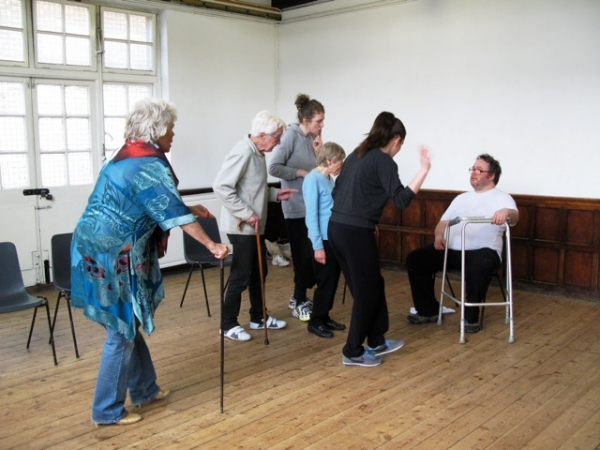 Carola Stewart, Bryan Hands, Julia Voce, Apple Brook, Jennifer Lee, Dan Copeland at Rehearsals of The Pleasance Theatre's MOON RIVER Feat. Caroline Horton & Cast
