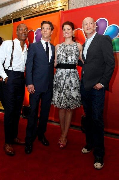Leslie Odom, Jr., Christian Borle, Debra Messing, Neil Meron at Photo Flah: SMASH Cast Performs at NBC Upfronts!