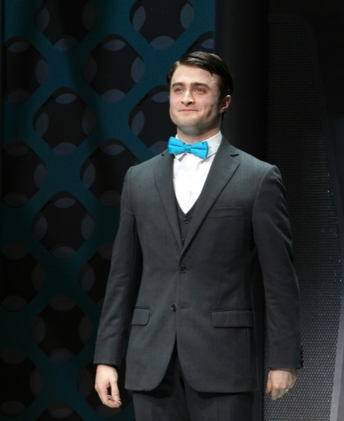 Daniel Radcliffe at opening night curtain call at Photo Flashback: HOW TO SUCCEED Closes Today; A Look Back at the Three Finches