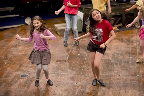 Analise Scarpaci (as Uzo) and Montana Byrne (as Anna Maria) at The 'GODSPELL Cast of 2032' in Rehearsal!