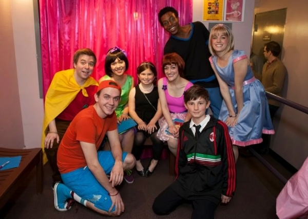 A.J. Patton, Lora Nicolas, Ryan Mikita, Laura Weiner, Bryce Payne, and Madison Turner engage in a photo op with young theatergoers at STINKYKIDS, The Musical Plays Last Weekend at Theatre 80, 5/26
