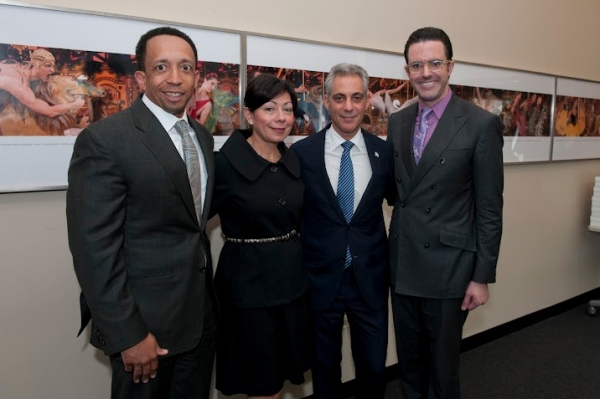 Joffrey Ballet Board Chair Jason Tyler, wife Yolanda, Mayor Rahm Emanuel, and Joffrey Exec Director Christopher Clinton Conway at Mayor Rahm Emanuel Visits The Joffrey Ballet