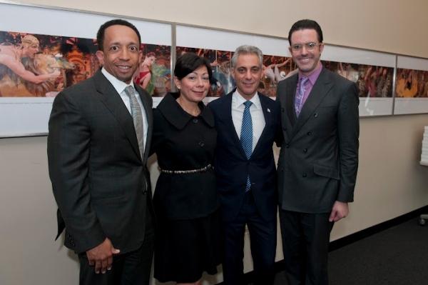 Joffrey Ballet Board Chair Jason Tyler, wife Yolanda, Mayor Rahm Emanuel, and Joffrey Photo