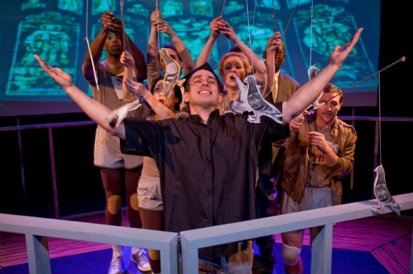Miguel Nunez (front center) and the cast of Pine Box Theater Company's THE JAMMER