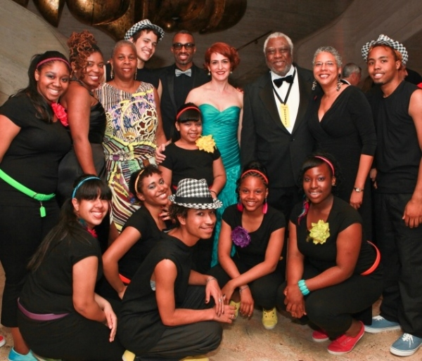 Back row, starting second from left: Katori Hall, Lenora B. Fulani, Desmond Richardson, Gabrielle L. Kurlander, Woodie King, Jr., Pamela A. Lewis with All Stars Project youth performers