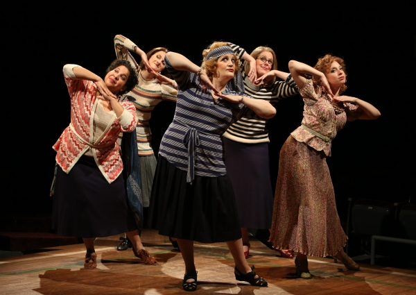 Rayanne Gonzales as Mrs. Squires, Tina Stafford as Alma Hix, Barbara Tirrell as Eulalie Mackecknie Shinn, Janet Aldrich as Maud Dunlop and Katerina Papacostas as Ethel Toffelmier in Arena Stage at the Mead Center for American Theater