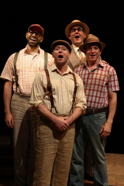 Justin Lee Miller as Olin Britt, Joe Peck as Ewart Dunlop, Lawrence Redmond as Oliver Hix and Michael Brian Dunn as Jacey Squires in Arena Stage at the Mead Center for American Theater