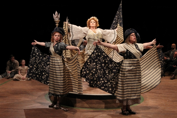Katerina Papcostas as Ethel Toffelmier, Barbara Tirrell as Eulalie Mackecknie Shinn and Janet Aldrich as Maud Dunlop in Arena Stage at the Mead Center for American Theater