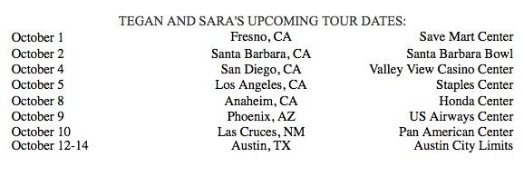 Tegan and Sara Tour with The Black Keys, Now thru Oct 14