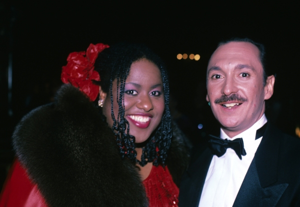 Jennifer Holiday and Michael Bennett photographed together at the 1984 Tony Awards.  Photo