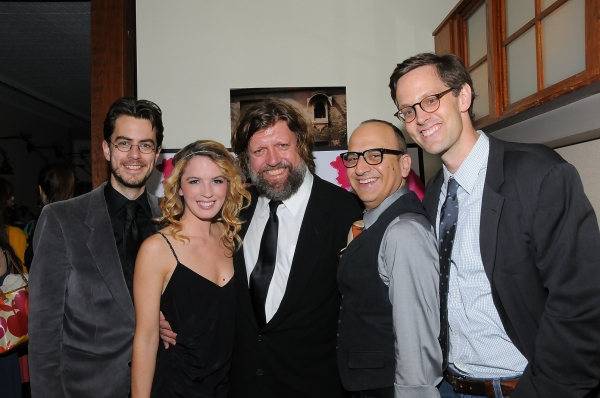 February House book writer Seth Bockley, Kacie Sheik, Public Theater Artistic Director Oskar Eustis, Julian Fleisher, and February House Director Davis McCallum