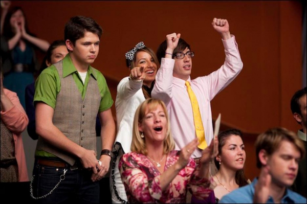 Damian McGinty, Vanessa Lengies, Kevin McHale at Behind the Scenes of GLEE's Season 3 Finale!