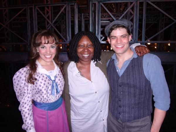 Kara Lindsay, Whoopi Goldberg and Jeremy Jordan at Whoopi Goldberg Visits NEWSIES!