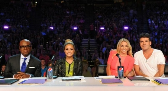 L.A. Reid, Demi Lovato, Britney Spears & Simon Cowell at X FACTOR Releases First Official Judge's Photo