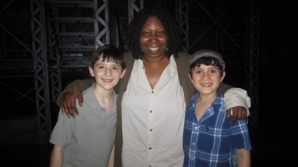 Matthew Schechter and Lewis Grosso with Whoopie Goldberg at  More Whoopi with the Young NEWSIES Boys!