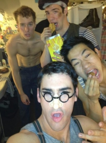 NEWSIES' Tommy Bracco, Evan Kasprzak, Ryan Steele and Alex Wong